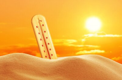 Naklejka Weather thermometer with high temperature outdoors on hot sunny day. Heat stroke warning