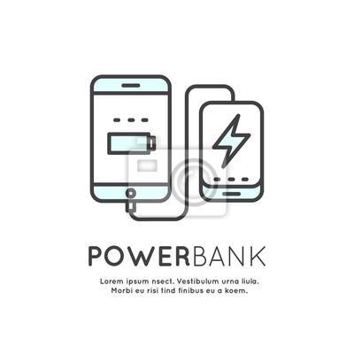 Web Power Template Banku baterii telefonu Ładowarka Minimalistyczne Wektor płaską linię Zarys Stroke Ikona Piktogram Symbol