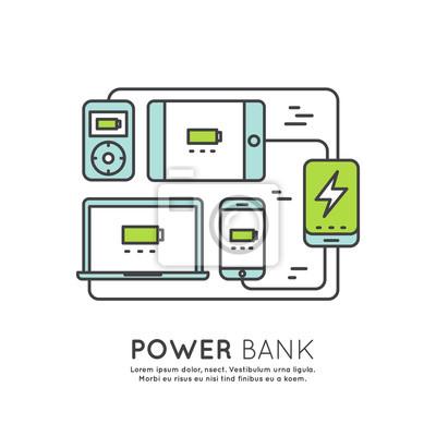 Web Power Template Banku baterii telefonu, laptopa, komputer, tablet i odtwarzacz ładowarka Minimalistyczne Wektor płaską linię Zarys Stroke Ikona Piktogram Symbol
