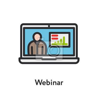 Webinar Laptop Online Edukacja Szkolenie Nauka Minimalna Kolor Płaska linia Kontur Skok Ikona