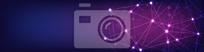 Naklejka Website header or banner design with abstract geometric background and connecting dots and lines. Global network connection. Digital technology with plexus background and space for your text.