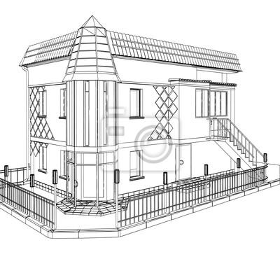 Wektor 3D konstrukcji budynku