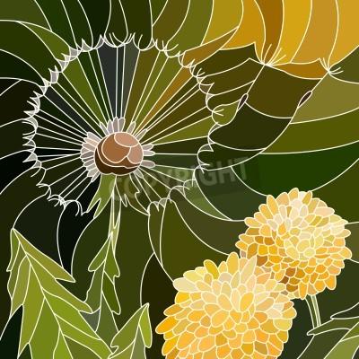 Naklejka Wektor abstrakcyjna mozaiki z dużymi komórkami grupy Dandelion na zielono.