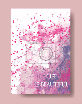 Wektor, akwarela artystyczny uniwersalna karta. Hand wyciągnąć tekstury. Projekt plakatu, zaproszenia, afisz, broszury, ulotki.