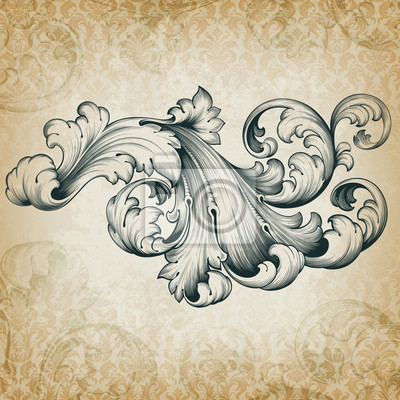 Wektor archiwalne barokowy wzór kwiatowy scroll