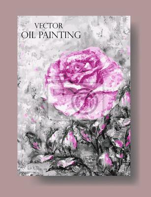 wektor, artystyczne uniwersalna karta z róży i liści. Obraz olejny na płótnie. Na plakat, zaproszenia, broszury, ulotki.