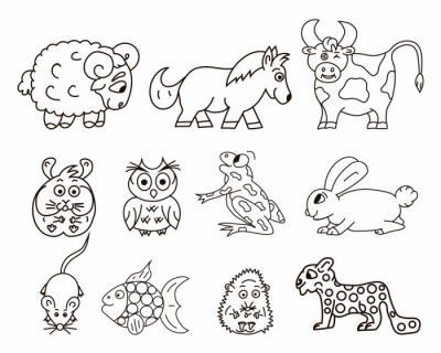 Wektor baran, kucyk, sowa, żaba, mysz, królik, jeż. Odosobniony.