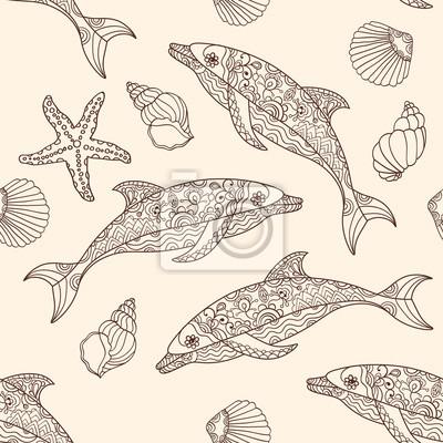 Wektor bez szwu delfinów wzór z ręcznie rysowane ilustracje doodle.