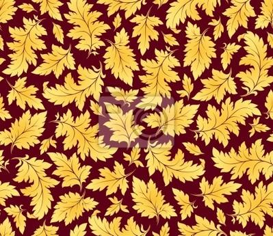 Wektor bez szwu deseń liści złoto