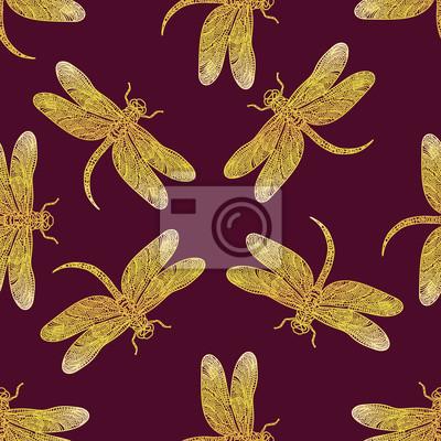 Wektor bez szwu deseń z błyszczącą złotą ważki