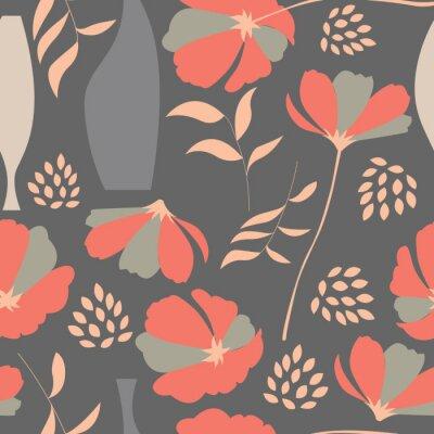 Naklejka Wektor bez szwu deseń z elementami kwiatów, kwiaty wiosny PO