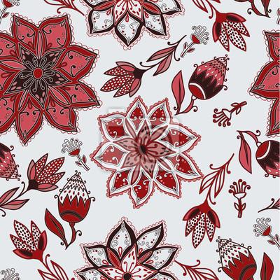 Wektor bez szwu doodle kwiatowy wzór z kwiatów i ptaków