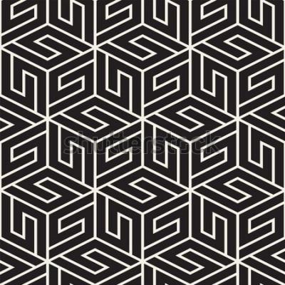 Naklejka Wektor bez szwu kraty. Nowoczesna stylowa tekstura z monochromatyczną kratką. Powtarzająca się siatka geometryczna. Prosty wzór tła.