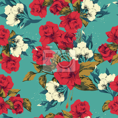Wektor bez szwu kwiatowy wzór z różami, akwarela