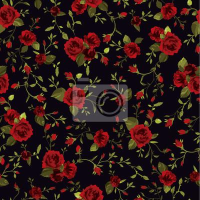 Wektor bez szwu kwiatu deseń z róż na ciemnym tle