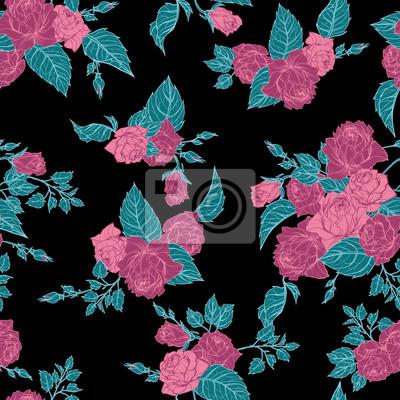 Wektor bez szwu kwiatu deseń z róż na czarnym tle