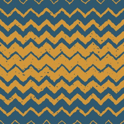 Naklejka Wektor bez szwu niebieski kolor żółty Wyciągnąć rękę Poziomy gradient półtonów zygzak zniekształcone linie Grungy etniczne