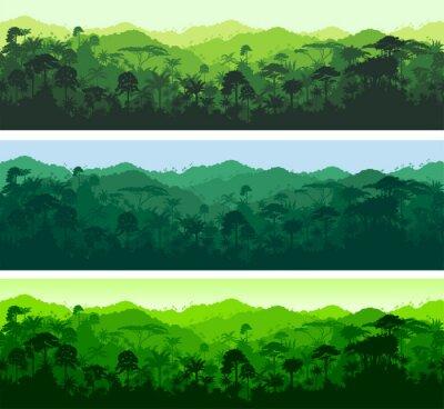 Naklejka Wektor bez szwu poziome lasów tropikalnych dżungli tle