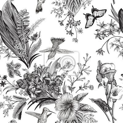 Wektor bez szwu rocznika kwiatowy wzór. Egzotyczne kwiaty i ptaki. Botaniczna klasyczne ilustracji.