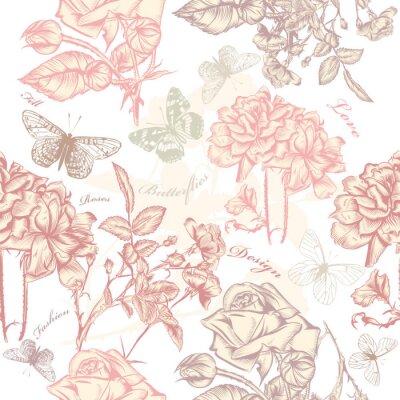 Naklejka Wektor bez szwu tapety z róż