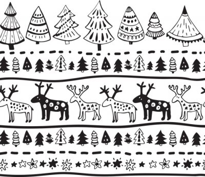 Naklejka Wektor bez szwu z ręcznie rysowanych elementów Bożego Narodzenia
