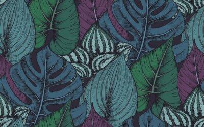Naklejka Wektor bezszwowych deseniu z kompozycji ręcznie rysowane roślin tropikalnych