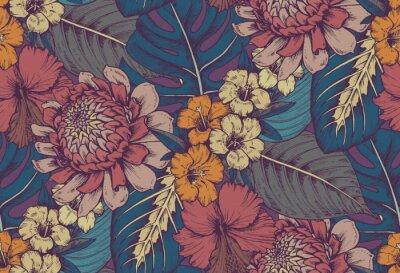 Naklejka Wektor bezszwowych deseniu z kompozycji ręcznie rysowane tropikalnych kwiatów