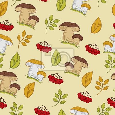 Wektor bezszwowych tekstur z grzybów, liści i jagód.