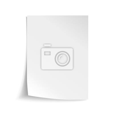 Naklejka Wektor Biały arkusz papieru. Realistyczne puste notatki papieru szablonu format A4 z miękkich cieni samodzielnie na białym tle.