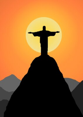 Naklejka Wektor: Chrystus Odkupiciel tło wektor