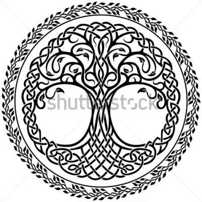 Naklejka Wektor dekoracji, dekoracyjne drzewo celtyckie życia z kwiatami rundy granicy