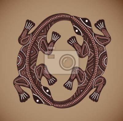 Naklejka Wektor Drukuj tradycyjnych afrykańskich etniczne ozdoba z dwóch jaszczurki