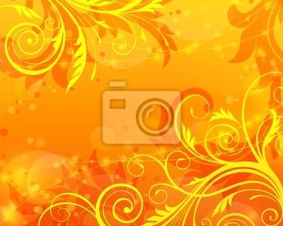 Wektor Floral pomarańczowe tło
