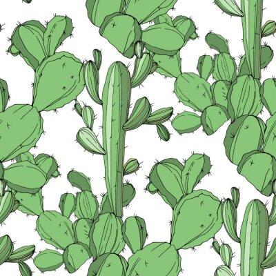Naklejka Wektor Kaktus Atrament grawerowany zielony. Bezszwowe tło wzór. Tapeta tekstura tkanina nadruk.