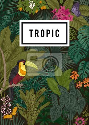 Wektor karty rocznika. Egzotyczne kwiaty, palma, ptak, motyl. Botaniczny klasycznej ilustracji. Kolorowy