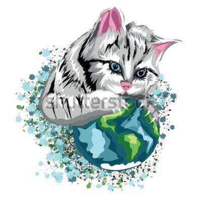 Naklejka Wektor kot ekologiczny świat z kotowatej planety i śniegiem, szary kot o niebieskich oczach.