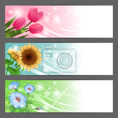 Wektor kwiatowy tle ilustracji. Horizontal banner.