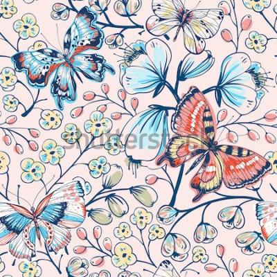 Naklejka wektor kwiatowy wzór z rocznika motyle i kwiaty