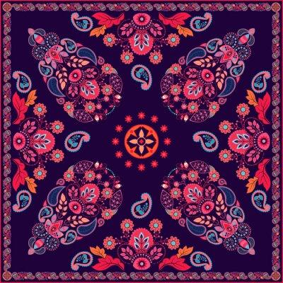 Naklejka Wektor Paisley kwiatowy wzór kwadratu