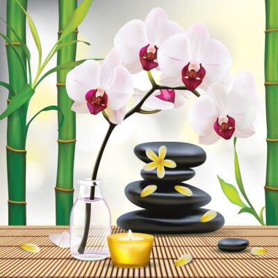 Naklejka Wektor Piękne Skład Spa z kamieni zen