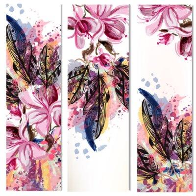 Naklejka Wektor pionowe broszury zestaw z kwiatów magnolii i piór