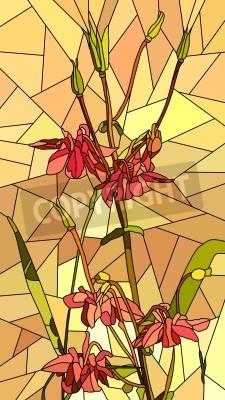 Naklejka Wektor pionowe mozaika z dużymi komórkami Columbine kwiaty na żółtym.