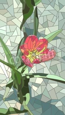 Naklejka Wektor pionowe mozaikę z dużych komórek czerwonych kwiatów tulipanów na zielono.