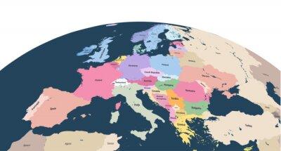 Naklejka wektor planeta Ziemia glob z bliska kontynentu Europy