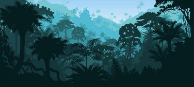 Naklejka Wektor poziome lasów tropikalnych dżungli tle