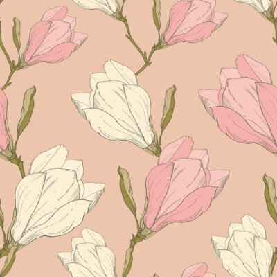 Naklejka Wektor Różowe kwiaty magnolii Vintage Fabric Retro Powtarzanie wzorek bez szwu ręcznie rysowane w stylu Botanicznego. Idealne do tkanin, tapet, opakowań, tła, karty okolicznościowe.
