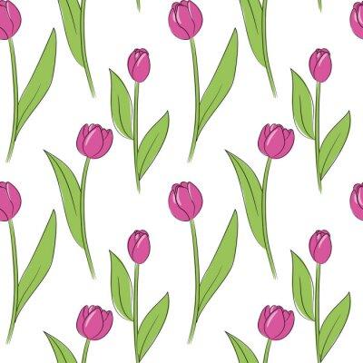 Naklejka wektor różowy prosty tulipan kwiaty wzór