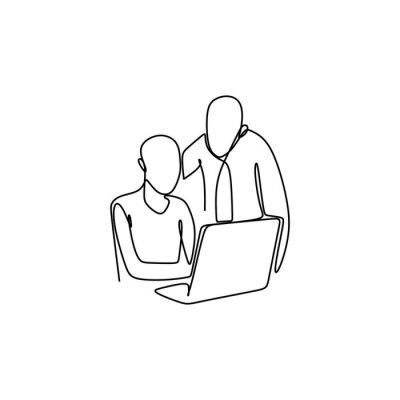 wektor rysunek linii dwóch osób pracujących w biurze z laptopem. Koncepcja kierownika i jego pracownika.