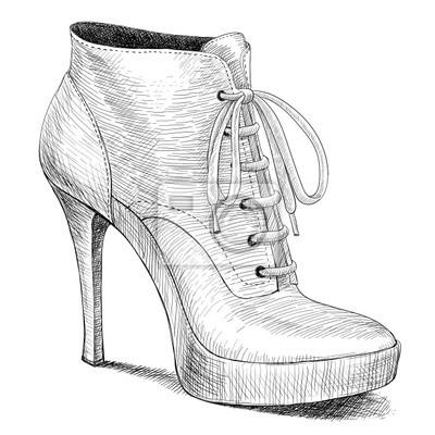 wektor rysunek w stylu vintage buty kobieta mody