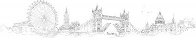 Naklejka wektor szkic strony rysunku panoramiczny London Silhouette